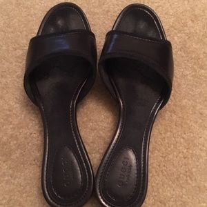 Classic Gucci Black Leather Slides with Wood Soles